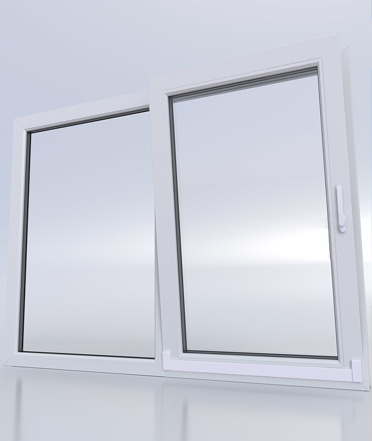 Baie vitree pvc 2 vantaux type 80 blanc cache rail blanc poignees blanc 1