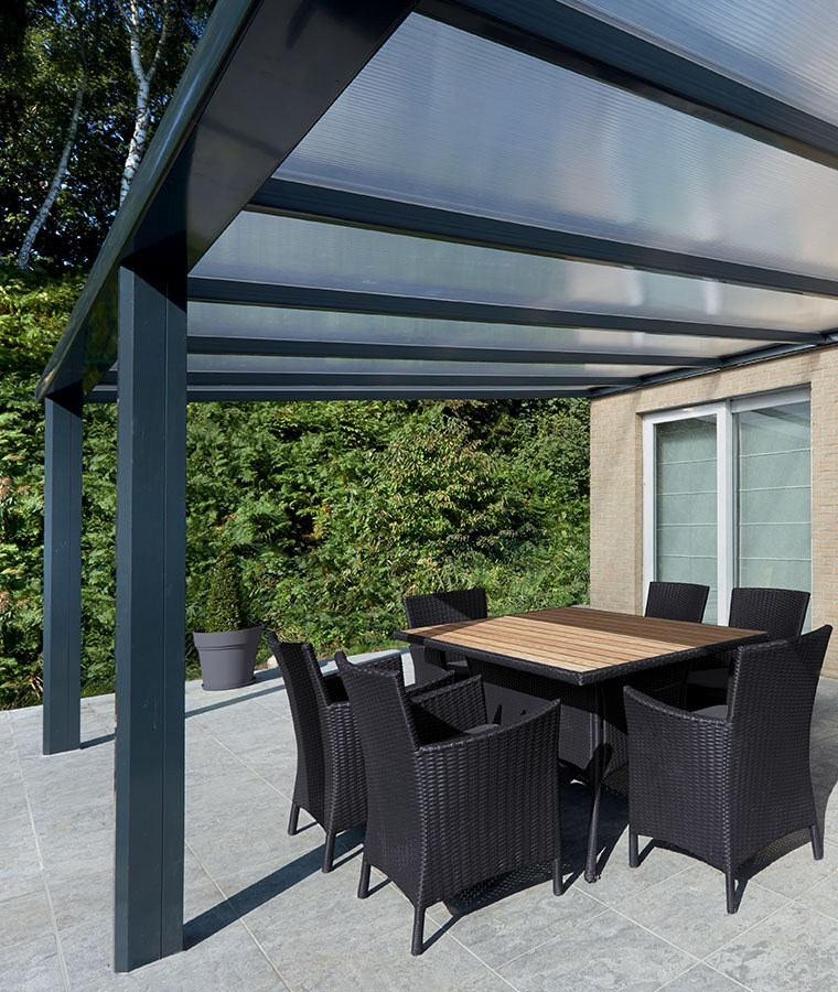 pergola sur mesure en alu avec toit rigide stores. Black Bedroom Furniture Sets. Home Design Ideas