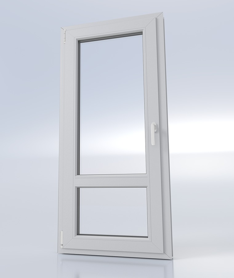 Porte fenetre pvc 1 vantail type 40 blanc charnieres blanc poignees blanc 1